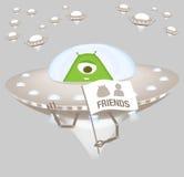 Vriendschappelijke vreemdeling in ruimteschip Royalty-vrije Stock Foto