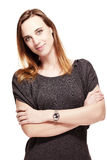 Vriendschappelijke vrouw met gevouwen wapens Royalty-vrije Stock Afbeelding