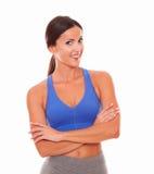 Vriendschappelijke vrouw in sportkleding het glimlachen Royalty-vrije Stock Afbeelding