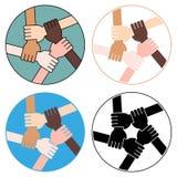 Vriendschapscirkel voor Solidariteit Vier Versies Stock Foto