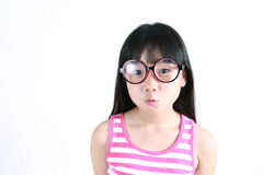 Vrij Aziatisch meisje die glazen dragen Royalty-vrije Stock Foto's