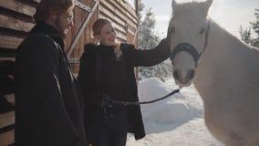 Vrij blonde vrouw en lange gebaarde man die zich met wit paard bij de boerderij van de sneeuwwinter bevinden Het meisje strijkt d stock videobeelden