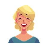 Vrij blonde vrouw, het lachen gelaatsuitdrukking Royalty-vrije Stock Foto