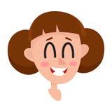 Vrij bruine haarvrouw, het lachen gelaatsuitdrukking Stock Foto
