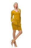 Vrij eerlijk meisje in gele die kleding op wit wordt geïsoleerd Stock Afbeelding