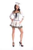 Vrij gelukkig meisje in het kostuum van de zeemanspartij Royalty-vrije Stock Foto's