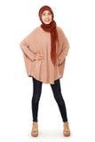 Vrij gelukkige jonge Moslimvrouwen om hijab te dragen Royalty-vrije Stock Afbeelding