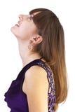 Vrij gelukkige vrouw die geïsoleerdd, omhoog kijkt Royalty-vrije Stock Afbeelding