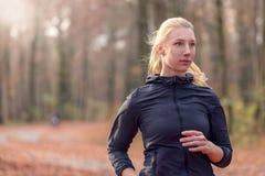 Vrij geschikte jonge vrouwenjogging in bos Stock Afbeeldingen