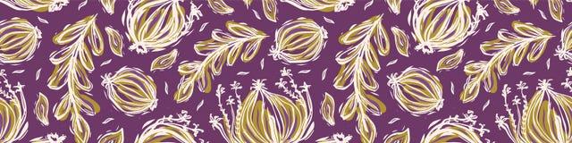 Vrij geworpen bladerengrens Het naadloze herhalen Hand getrokken vectorillustratie stock illustratie