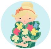 Vrij Glimlachend Jong Meisje met Boeket van Bloemen vector illustratie