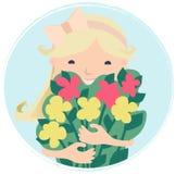 Vrij Glimlachend Jong Meisje met Boeket van Bloemen stock illustratie