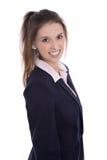 Vrij glimlachende geïsoleerde jonge onderneemster met witte tanden royalty-vrije stock fotografie
