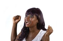 Vrij het Afrikaanse meisje toejuichen Royalty-vrije Stock Afbeeldingen