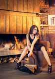 Vrij het donkerbruine stellen dichtbij het branden van open haard Royalty-vrije Stock Foto