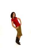 Vrij Jong vrouwelijk model dat pronkend met manier stelt Stock Afbeelding