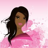 Vrij jonge Afrikaanse Amerikaanse vrouw, Vectorillustratie Stock Afbeelding