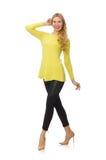Vrij jonge geïsoleerde vrouw in gele blouse Royalty-vrije Stock Foto's