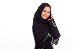 Moslim mobiele vrouw royalty-vrije stock foto