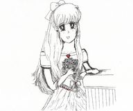 Vrij jonge van het de bloemboeket van de dameholding de stijlschets anime stock foto's