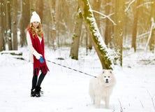 Vrij Jonge Vrouw in de Winter Forest Park Walking met haar Hond Witte Samoyed stock foto's