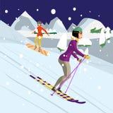 Vrij jonge vrouw die in bergen bij nacht ski?en Wintersporten v Royalty-vrije Stock Fotografie