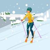 Vrij jonge vrouw die in bergen ski?en Blauw, raad die, pensionair, het inschepen, oefening, uiterste, pret, vlieger, kiteboard, k Royalty-vrije Stock Fotografie