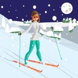 Vrij jonge vrouw die in bergen ski?en Blauw, raad die, pensionair, het inschepen, oefening, uiterste, pret, vlieger, kiteboard, k Stock Afbeelding