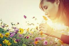 Vrij jonge vrouw die de bloemen ruiken royalty-vrije stock foto