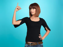 Vrij jonge vrouw die een idee heeft Stock Foto's