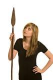 Vrij jonge vrouw met spear stock fotografie