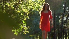 Vrij Kaukasisch donkerbruin meisje die in rode kleding langs zonnige parksteeg lopen langzame geanimeerde video stock video