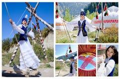 Vrij kazakh meisje in traditionele kleding Royalty-vrije Stock Foto's