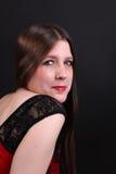 Vrij langharige donkerbruine vrouw stock foto's