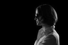 Vrij Modelsunglasses black en Wit Profiel Royalty-vrije Stock Afbeeldingen