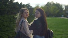 Vrij multiraciale meisjes die terug het glimlachen in park draaien stock videobeelden