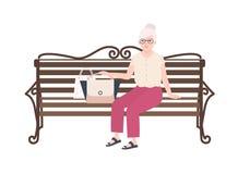 Vrij oude dame of grootmoederzitting op straatbank Portret die van bejaarde in openlucht ontspannen Gelukkige vrouwelijke vlakte royalty-vrije illustratie