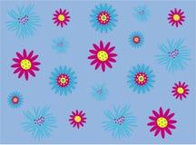 Vrij roze en blauwe bloemen vector illustratie