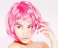 Vrij roze haarvrouw Royalty-vrije Stock Foto's