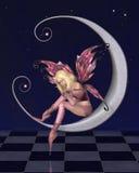 Vrij Roze Maanfee met Sterrige Nachtachtergrond Royalty-vrije Stock Fotografie
