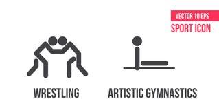 Vrij slag die, de Grieks-Romeinse het worstelen und artistieke pictogrammen van de gymnastieksport, embleem worstelen atletenpict vector illustratie