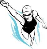 Vrij slag Vrouwelijke Zwemmer Stock Afbeeldingen