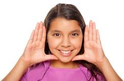 Vrij Spaans Meisje dat Haar Gezicht met Handen frame Royalty-vrije Stock Foto