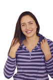 Vrij speels lachend donkerbruin meisje. Stock Foto's