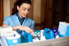 Vrij vrouwelijke huishoudster bezig het werken Stock Fotografie