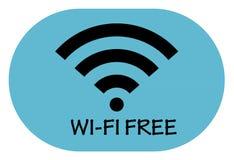 Vrij WiFi-puntpictogram op blauwe achtergrond Stock Afbeelding