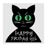 Vrijdag 13de, rode banner met het zwarte beeldverhaal van het kattensilhouet royalty-vrije illustratie
