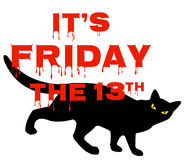 Vrijdag 13 met zwarte kat stock illustratie