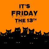 Vrijdag 13 met zwarte katten stock illustratie