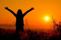 Vrije gelukkige vrouw die aard van zonsondergang genieten Vrijheid, geluk stock fotografie